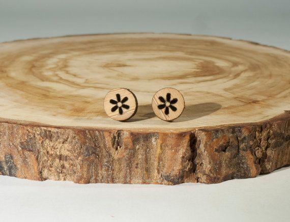 Little Flower Stud Earrings Bamboo by BeamDesigns on Etsy