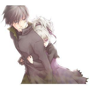 anime girl with short black hair and yellow eyes | black hair blue eyes couple darker than black dress gloves hei hug ...