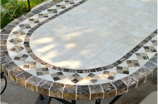 "71"" Outdoor Stone Patio Dining Table Marble Mosaic - OVALI"