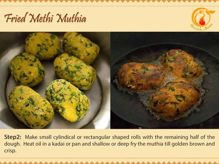 Ste 2: Make small cylindical or rectangular shaped rolls with the remaining half of the dough.  Heat oil in a kadai or pan and shallow or deep fry the muthia till golden brown and crisp.