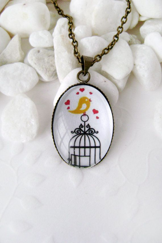 Pendant love the yellow bird. Pendant with a bird. by naturequotes, $14.00