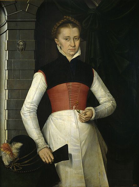 1567 Spanish Netherlands (Friesland): Dama con una flor amarilla (Lady holding a yellow flower).  Lovely red linen kirtle, black partlet, close fitting sleeves, apron.  Hubby's hat on the table?