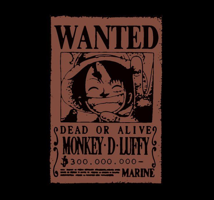 """Camiseta One Piece. Wanted, Luffy Camiseta con la imagen del cartel de """"Se Busca"""" perteneciente a Luffy, el personaje principal del manga-anime One Piece."""