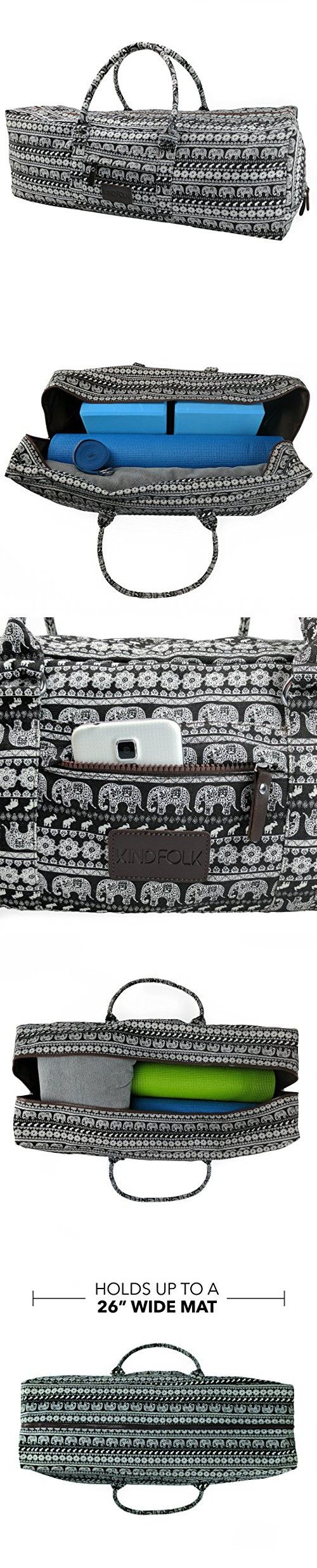 Yoga Mat Duffle Bag Patterned Canvas with Pocket and Zipper (Parade, Extra Large)