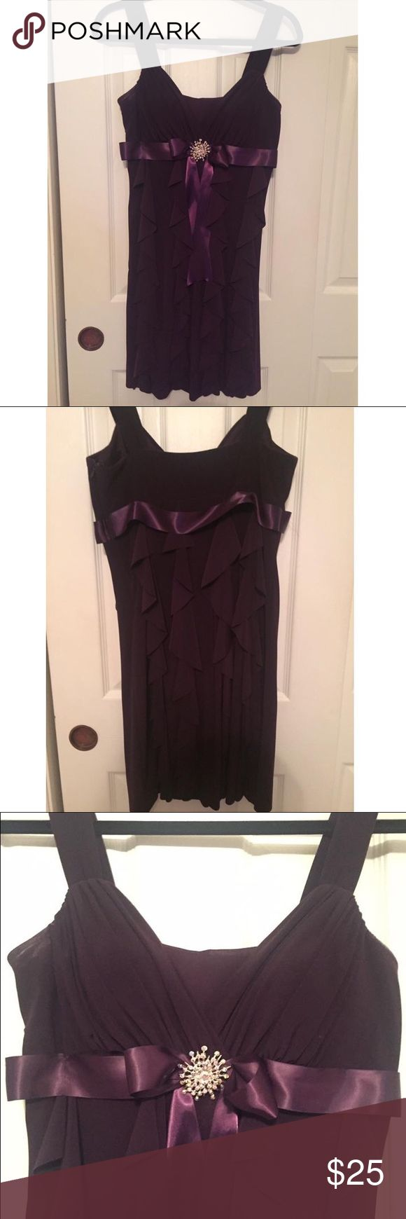 Size 10p Deep Purple Dress Worn once!!! Been kept in a closet ever since. Very flattering dress. There's a description picture posted of another site I've posted it on to sell. I added a piece between the V neck line since I was in 8th grade when I wore it. Can be easily removed! Betsy & Adam Dresses