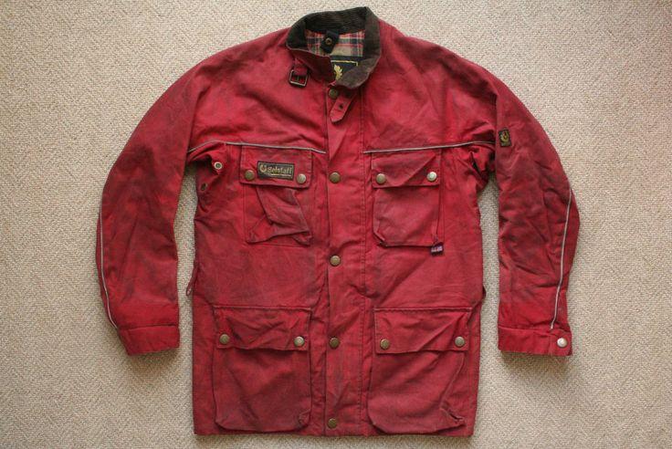 Vtg 80s Belstaff Red Waxed Cotton Motorcycle Jacket Coat