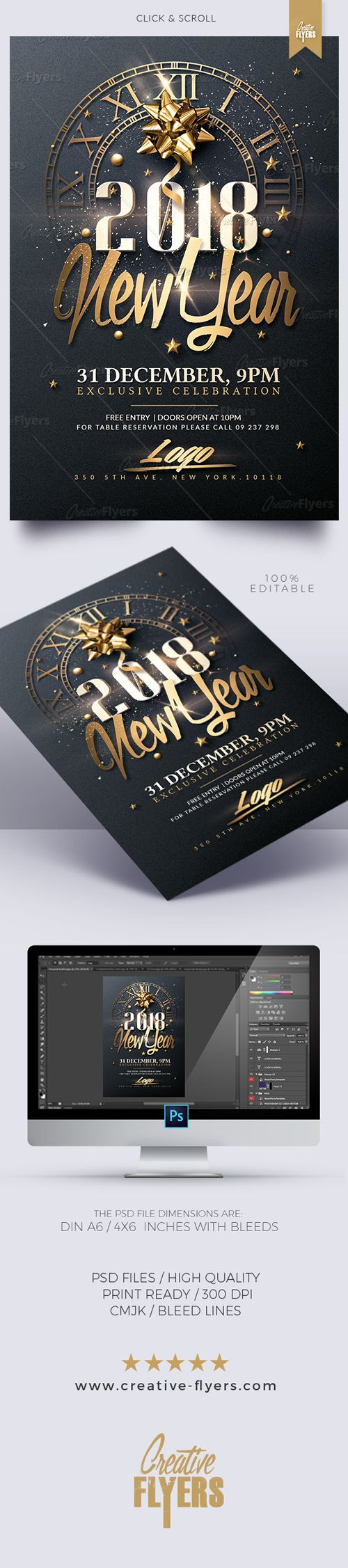 New Year Flyer Templates, Design 100% Editable, Available. Edit Psd Flyer Templates, Graphic Themes, Print Design and More ~ Creative Flyers Store. #creativeflyers #newyear #flyers #templates #nye2018