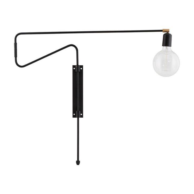 Lampa ścienna z ruchomym ramieniem i odsłoniętą żarówką, w kolorze czarnym od…