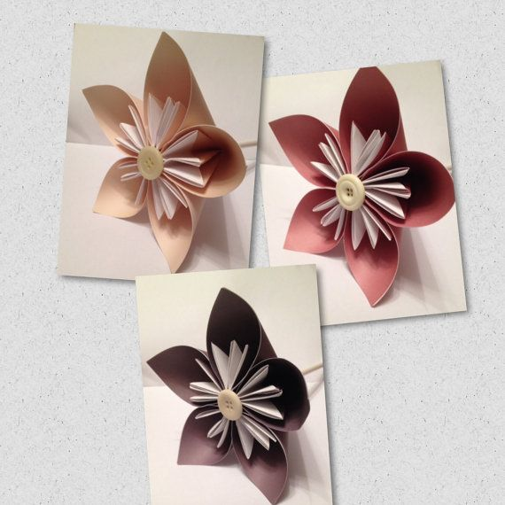 Origami kusudama paper flowers - large - any colour - button centres