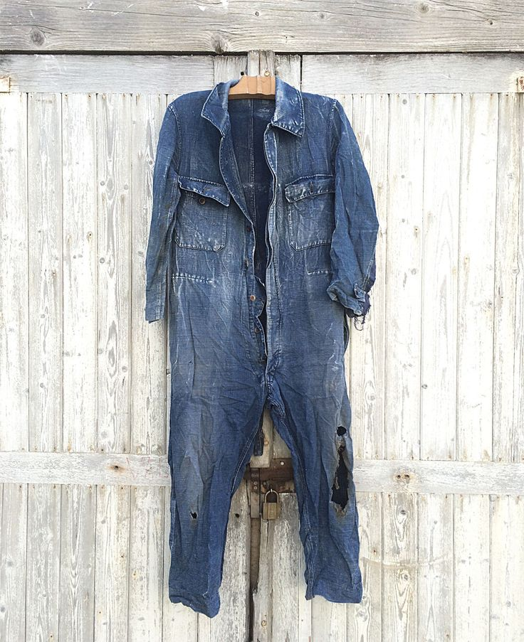 40s French Jumpsuit Darned Patched Workwear Denim Indigo Blue Overall Moleskine | eBay