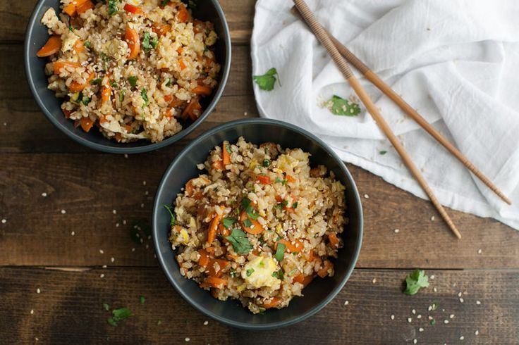 Vegetarian Carrot Fried Brown Rice. A simple fried rice made with leftover brown rice and carrots (but almost any vegetable would work well.)