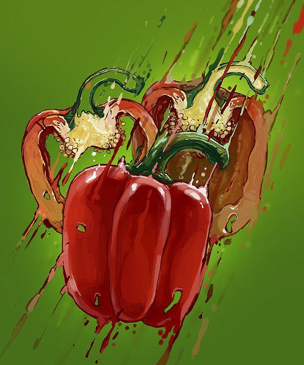 Exploding red pepper