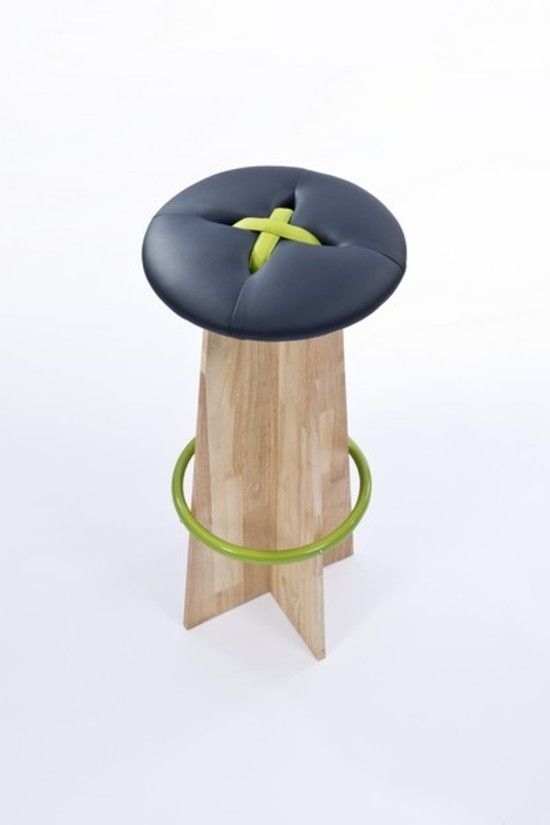 Buttone Barstool Navy/Lime
