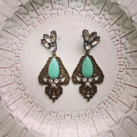 SAMANTHA WILLS - Wait & See Earrings; Statement Turquoise Earrings Jewelry Jewellery Crystals Luxe