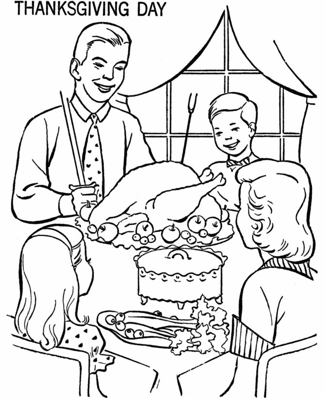 Thanksgiving Dinner Coloring Page Sheets Family At Table Pages Including Scenes Turkeys Cornucopia