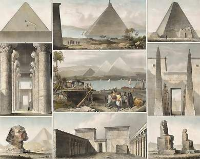 Pyramids of Gizeh - Egypt. Original steel engraving by H. Winkles after G. Heck. 1849 - 1. Pyramid in Lake Moeris, 2. Pyramids of Gizeh, 3. Section of a Pyramid at Memphis, 4. Pyramid at Assur in Nubia, 5. Colossi at Thebes, 6. The Sphinx of Gizeh, 7. Hall of the Palace at Carnak, 8. Entrance into the Palace at Luxor, 9. Propylaea on the Island of Philae.