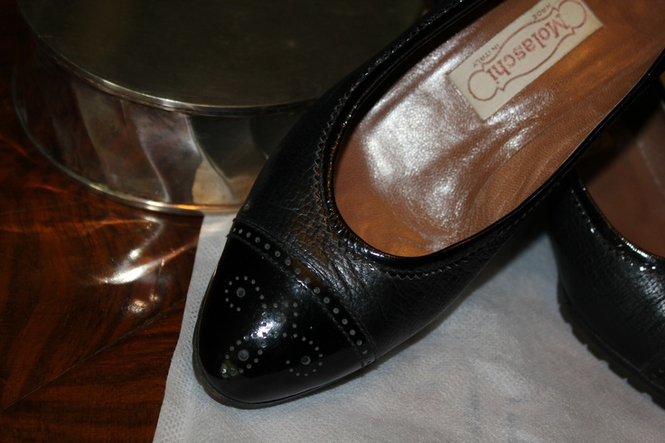 Black leather and patent leather