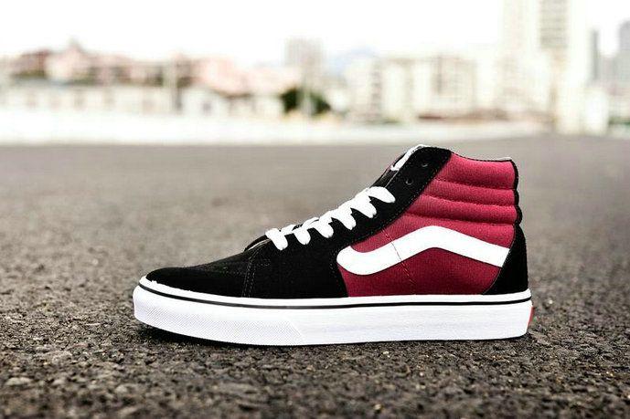 Vans Classic SK8 Hi Wine Red Black White CQ40 Skate Shoe  Vans ... 5690ead626f2
