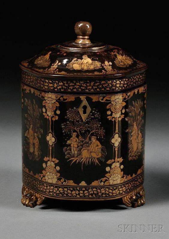 Chinese Lacquer Tea Caddy, China, early 19th century, hexagonal shape gilt decorated with floral framed panels of figures, set on three paw feet