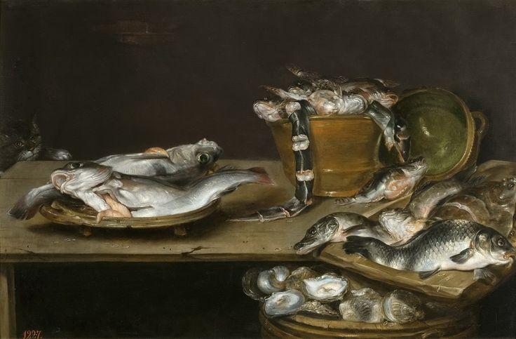 Alexander Adriaenssen (1587 – 1661) Натюрморт с рыбой, устрицами и крадущимся котом 60 х 91_д.,м. Мадрид, музей Прадо