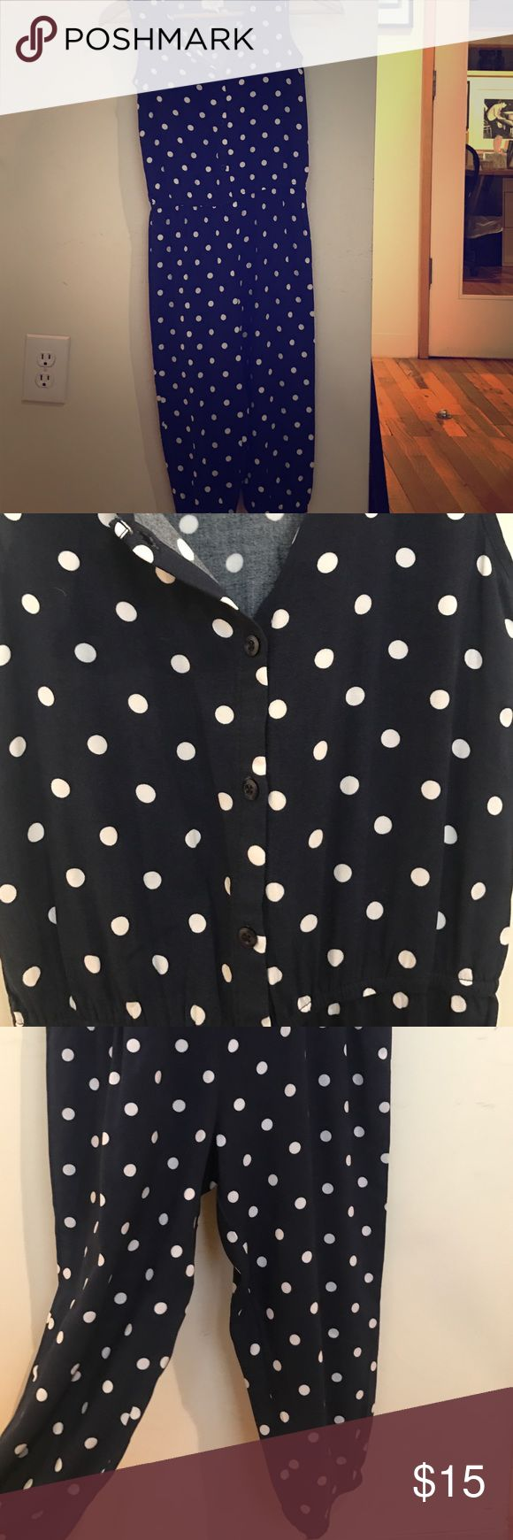 NWOT navy and white jumper navy jumper with white polka dots! Sleeveless with four buttons up top, cinched waist, and elastic hem pants Children's Place Bottoms Jumpsuits & Rompers