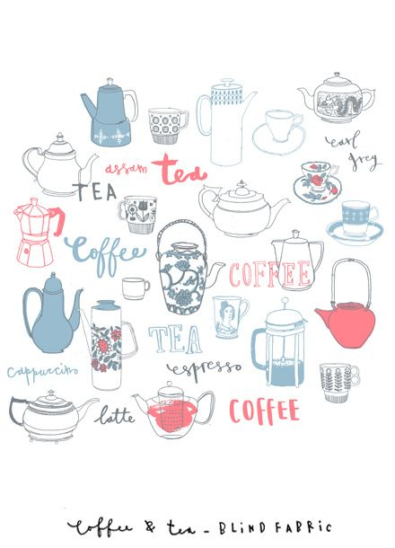 Coffee and tea fabric by Charlotte Farmer -- I want this as a print in a little frame for the kitchen! Cute!