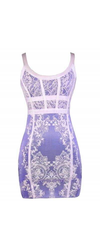 Lily Boutique Picking Lavender Purple and White Bodycon Dress