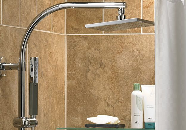 Energize each day with a warm and gentle rain.  The Westin Hotel Heavenly Shower System features a rain shower head and wand hand shower.  Made by Kohler.