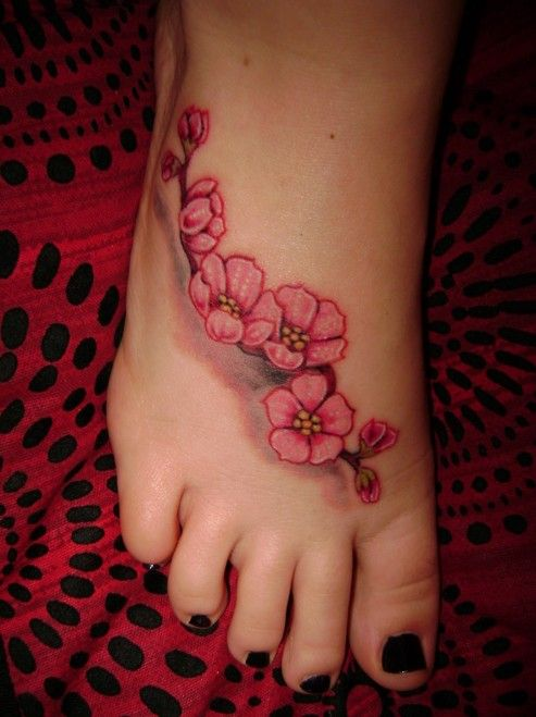 Foot tattoos Cherry Blossom Tattoos