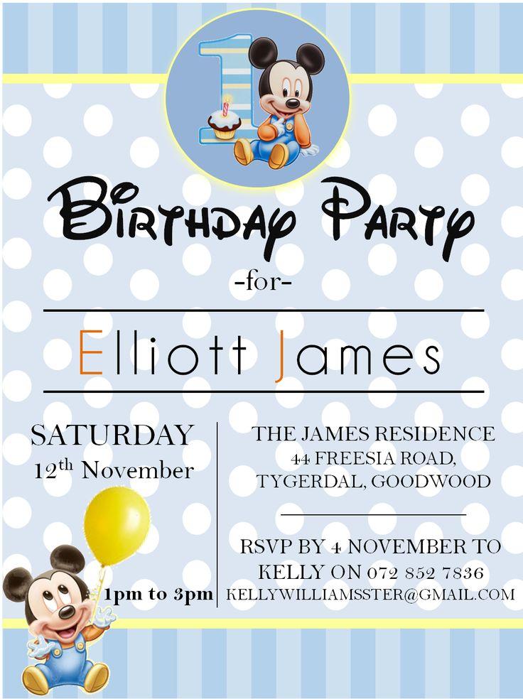 Baby Mickey themed 1st birthday invitation