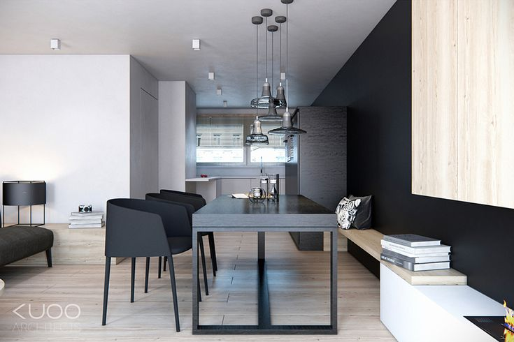 A built in bench provides extra seating at the table whilst using minimal floor space.