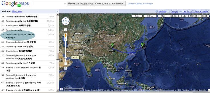 GOOGLE MAPS - ITINÉRAIRE JAPON => CHINE