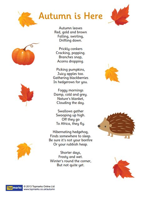 """Autumn is Here"" inspirational poem for use in the primary classroom"