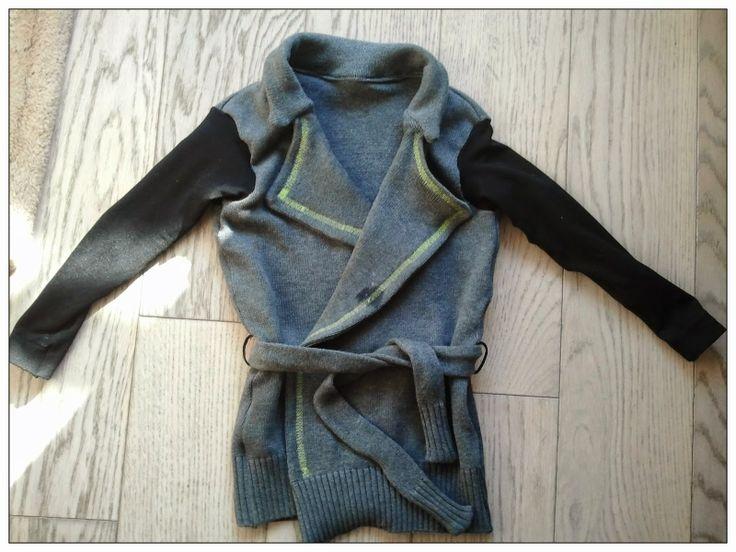 radosna WYtwórczość szycie dla dzieci DIY recykling kartigan sweterek dla dziewczynki tutorial sewing pattern kids wykrój recykling