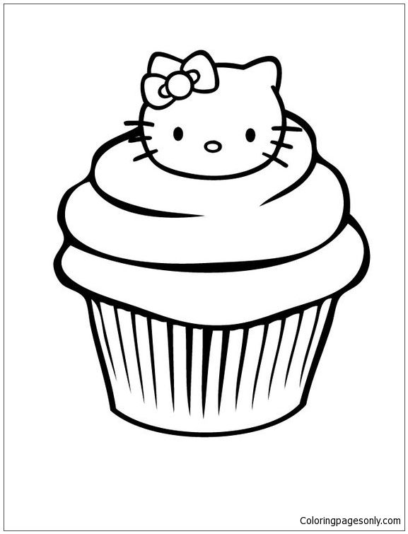 Muffin Coloring Page Free Coloring Page Cake Free Coloring Page Template Printing Printable Muffin Hello Kitty Coloring Kitty Coloring Cupcake Coloring Pages