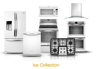 Whirlpool white ice collection sleek alternative to for Traditional kitchen appliances