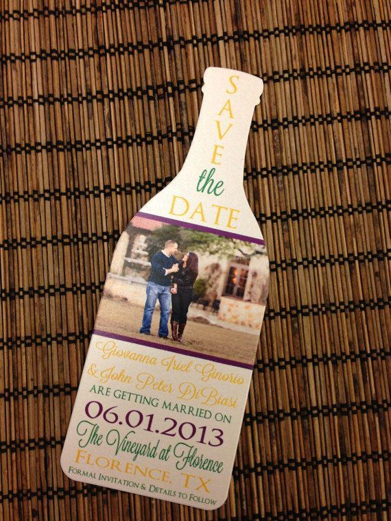 photo wine bottle save the date deposit  fun way to