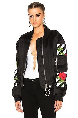 e005310d0600 OFF-WHITE ROSE EMBROIDERED BOMBER JACKET SMALL
