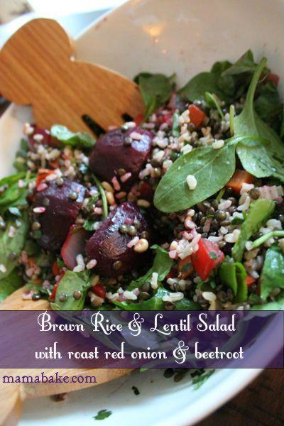 Brown rice and lentil salad