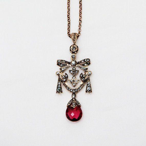 Ruby Swarovski Pendant Necklace - Drop shaped Red Ruby