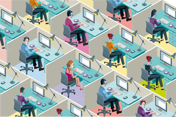 Isometric Office Cubicles by ÁRTICA on Creative Market