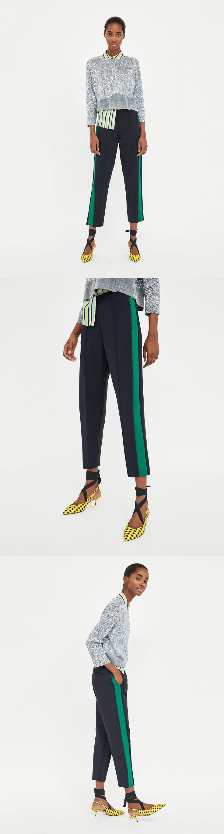 Jogging Trousers With Side Stripes // 49.90 USD // Zara // Trousers with elastic waistband with contrasting stripe detail and front zip pockets. HEIGHT OF MODEL: 179 CM / 5′ 10″