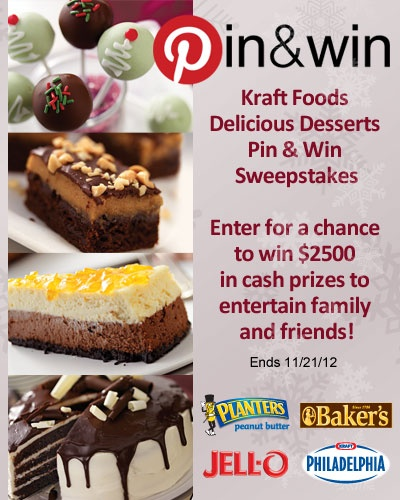 Delicious Desserts Pin & Win Sweepstakes! Enter for a chance to win 2500 in cash prizes. Visit kraftrecipes.com/pinterest for Official Rules!  #kraftrecipes