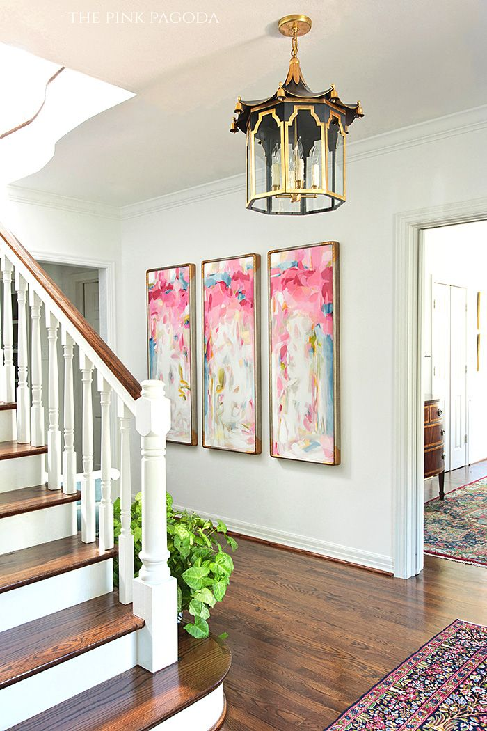 Entrance Hall by The Pink Pagoda for The Fall 2014 One Room Challenge with Christina Baker Paintings and Colleen and Company Lantern