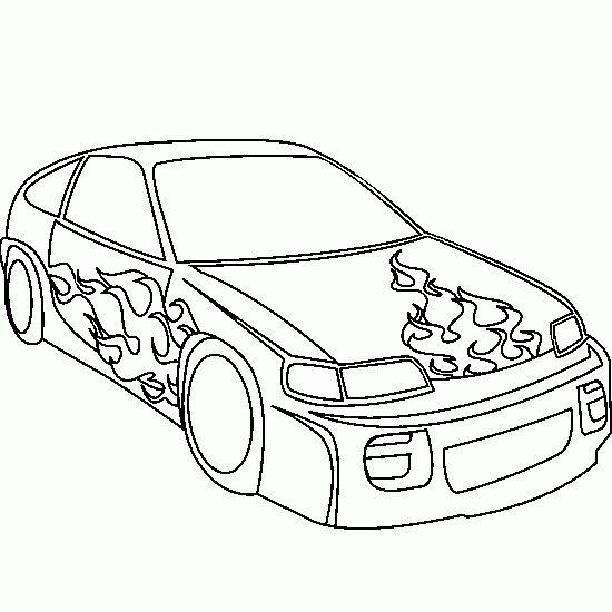 Dibujo de: colorear,coche,tuneo,dibujo,llamas