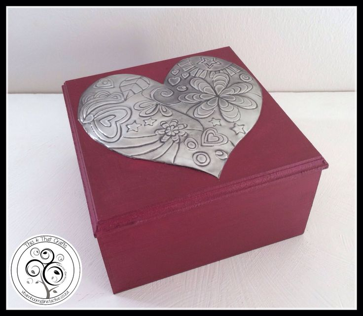 Detailed Pewter Heart on Burgundy Box