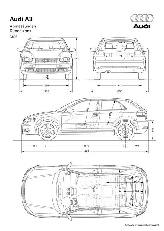 Dimension Audi A3 Sportback. audi a3 sportback dimensions