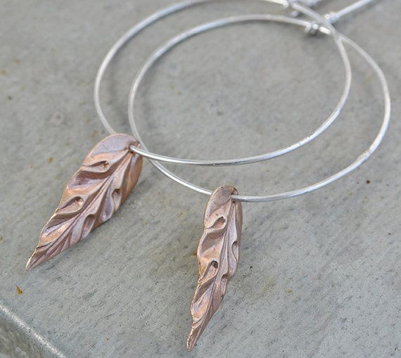 autumn leaf ... silver earrings with copper leaf and by MONOtekst