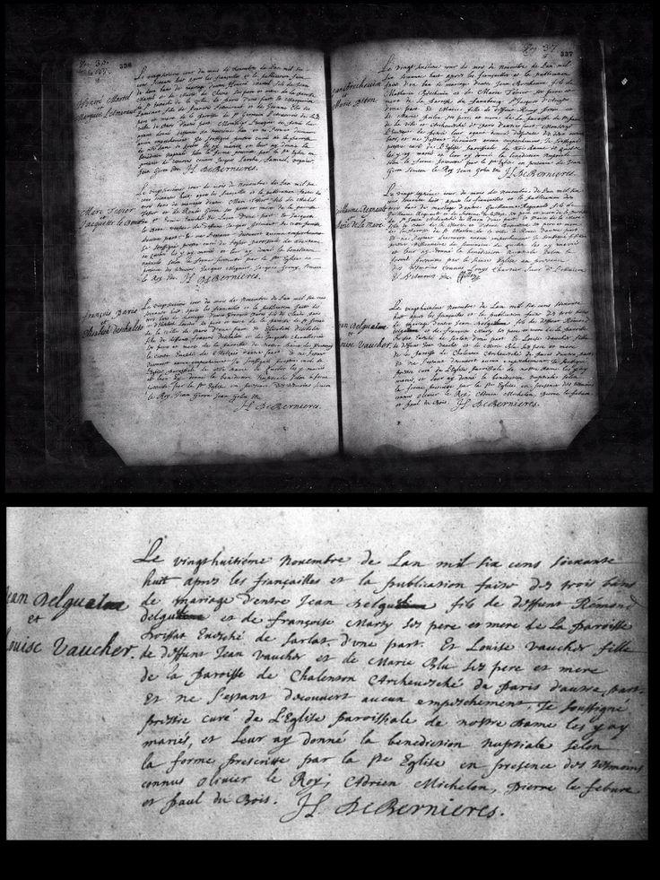 Acte de mariage de Louise Vaucher et Jean Delguel (dit Labrèche), 28 novembre 1668,  paroisse Notre-Dame de Québec ~ Collage: Lyne Labrèche. Follow me for more inspiration!