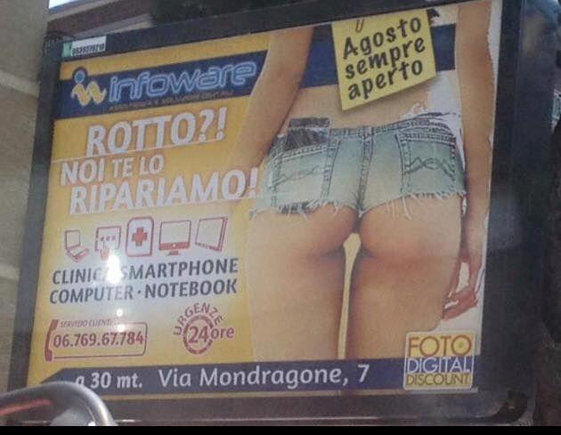 """E con questo confesso di seguire Selvaggia Lucarelli. Lo ha segnalato lei su Facebook così «Roma, Via Appia. Tanta classe e slogan per nulla allusivo. Non so se è più aulico quel """"rotto"""" o """"agosto sempre aperto"""", ci penso e vi faccio sapere.»"""